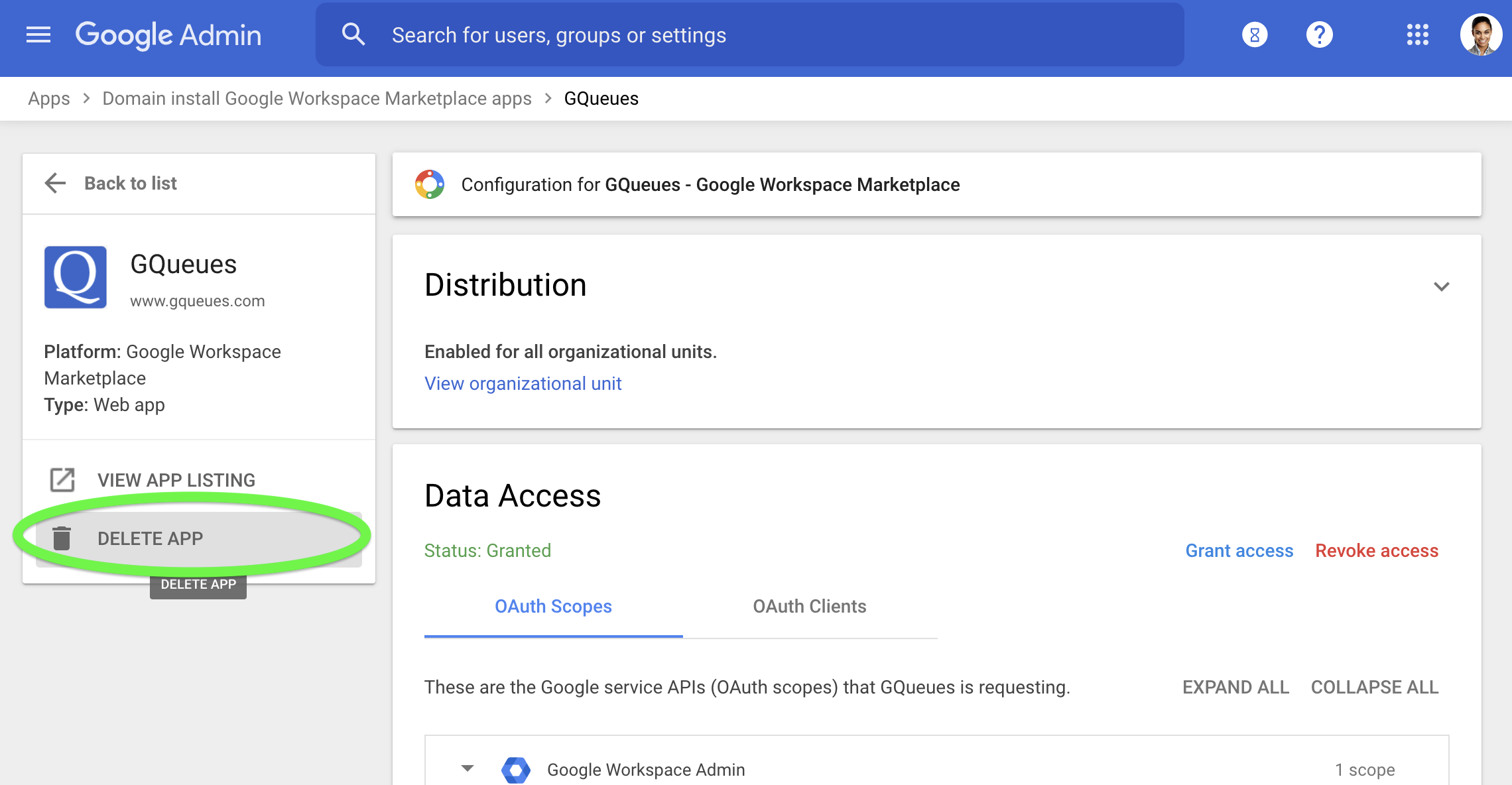 Select Delete App to uninstall it from your Google Workspace domain