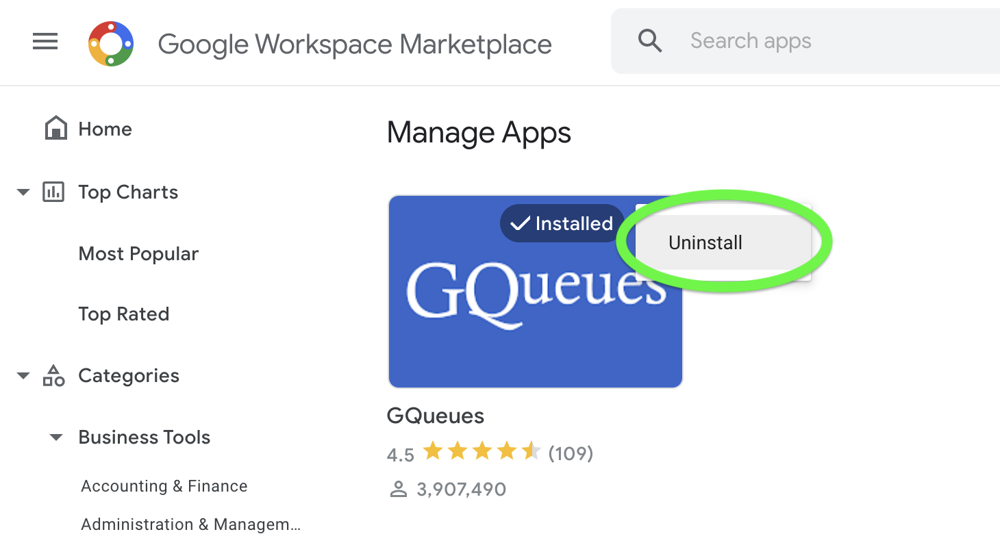 Select uninstall to remove the GQueues app from your Google Apps menu