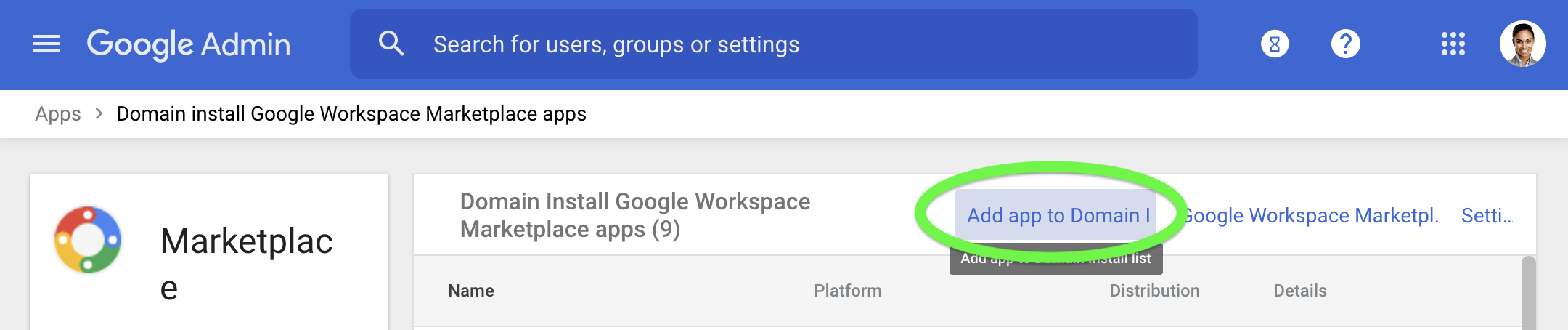 Click Add app to Domain to install GQueues for your Google Workspace domain