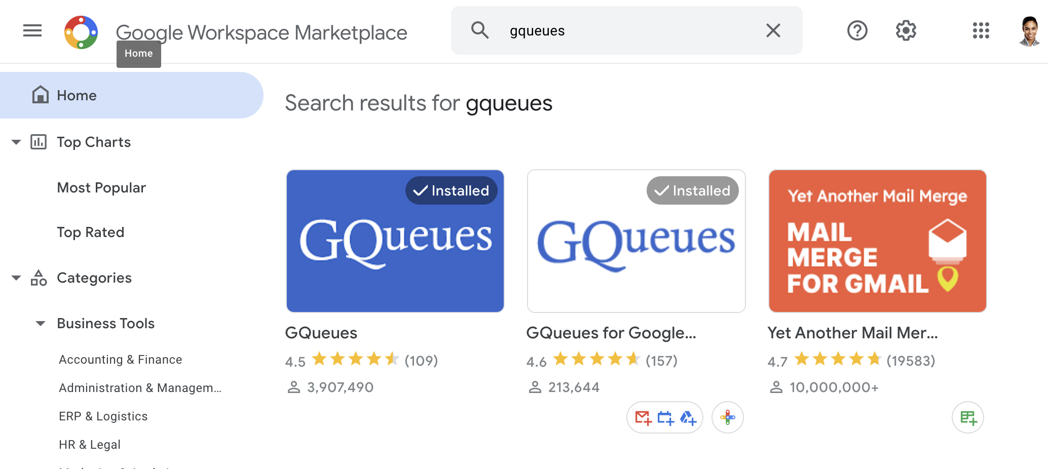 Choose GQueues from the Google Marketplace listings