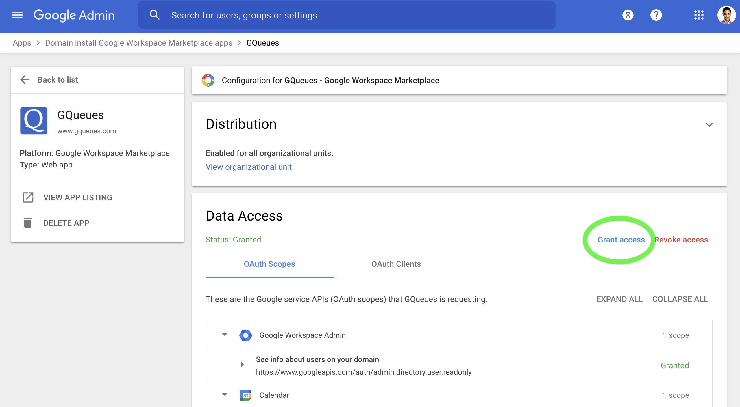 Select Grant access to grant data access for all users on your Google Workspace domain