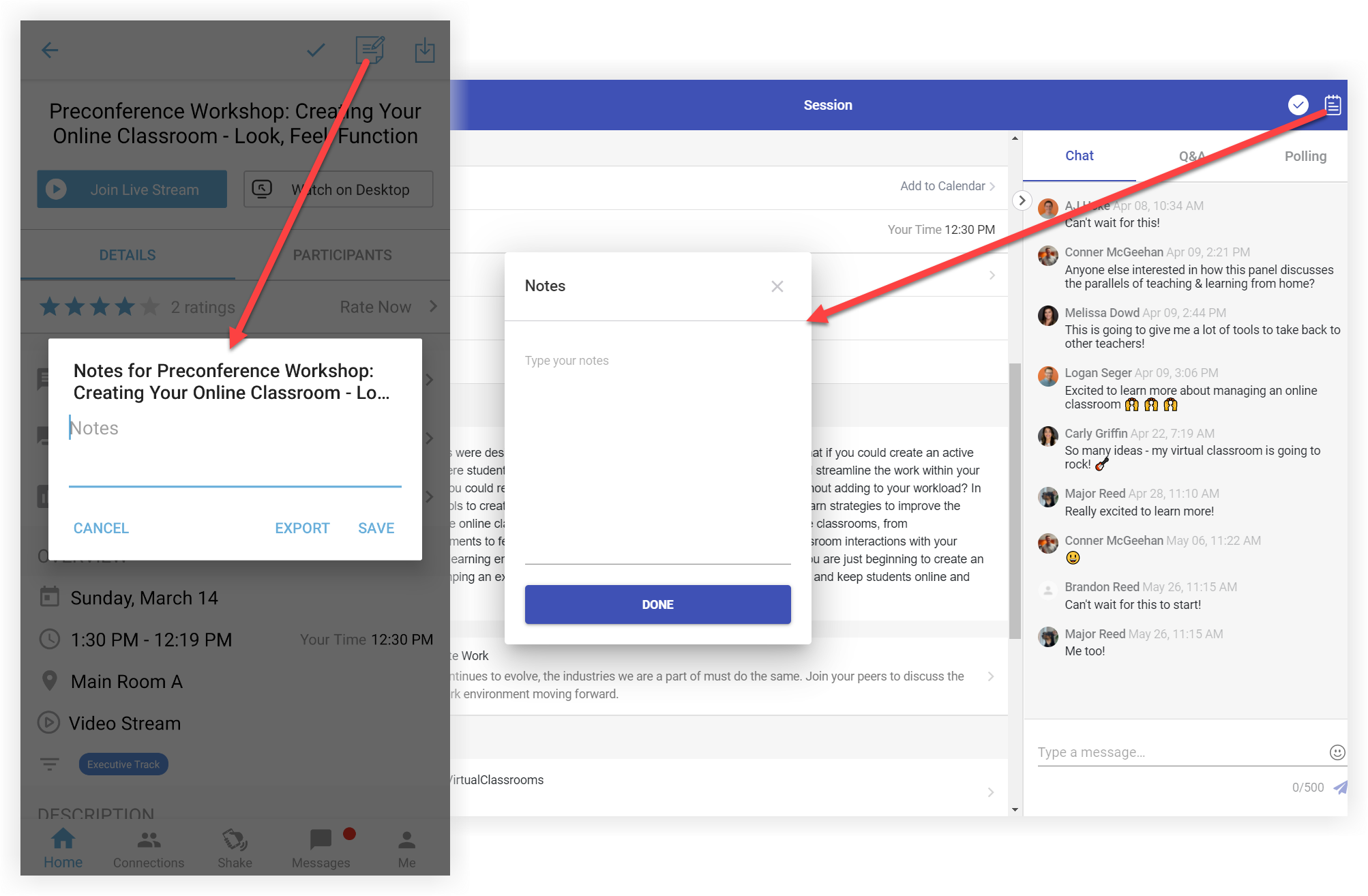 Two screenshots showing where users can access session notes on mobile and the web app.