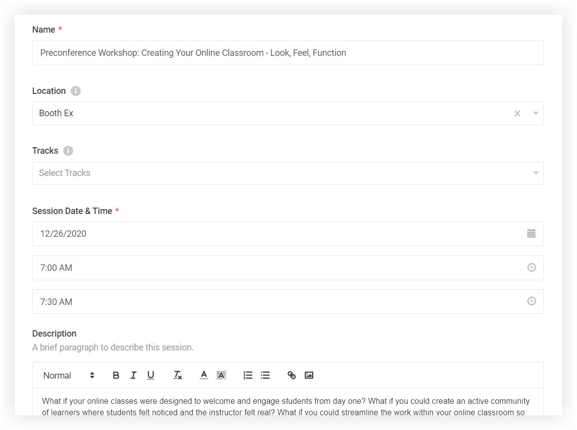 Screenshot of the new session modal.