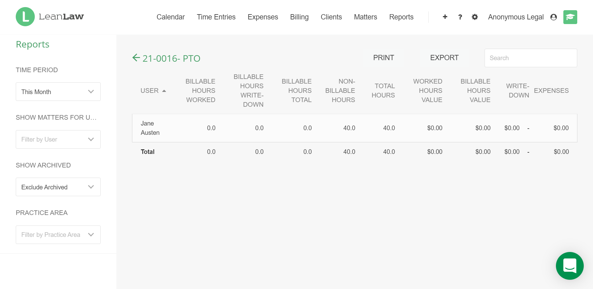 A screenshot of the Productivity by client and matter report, viewing a PTO matter