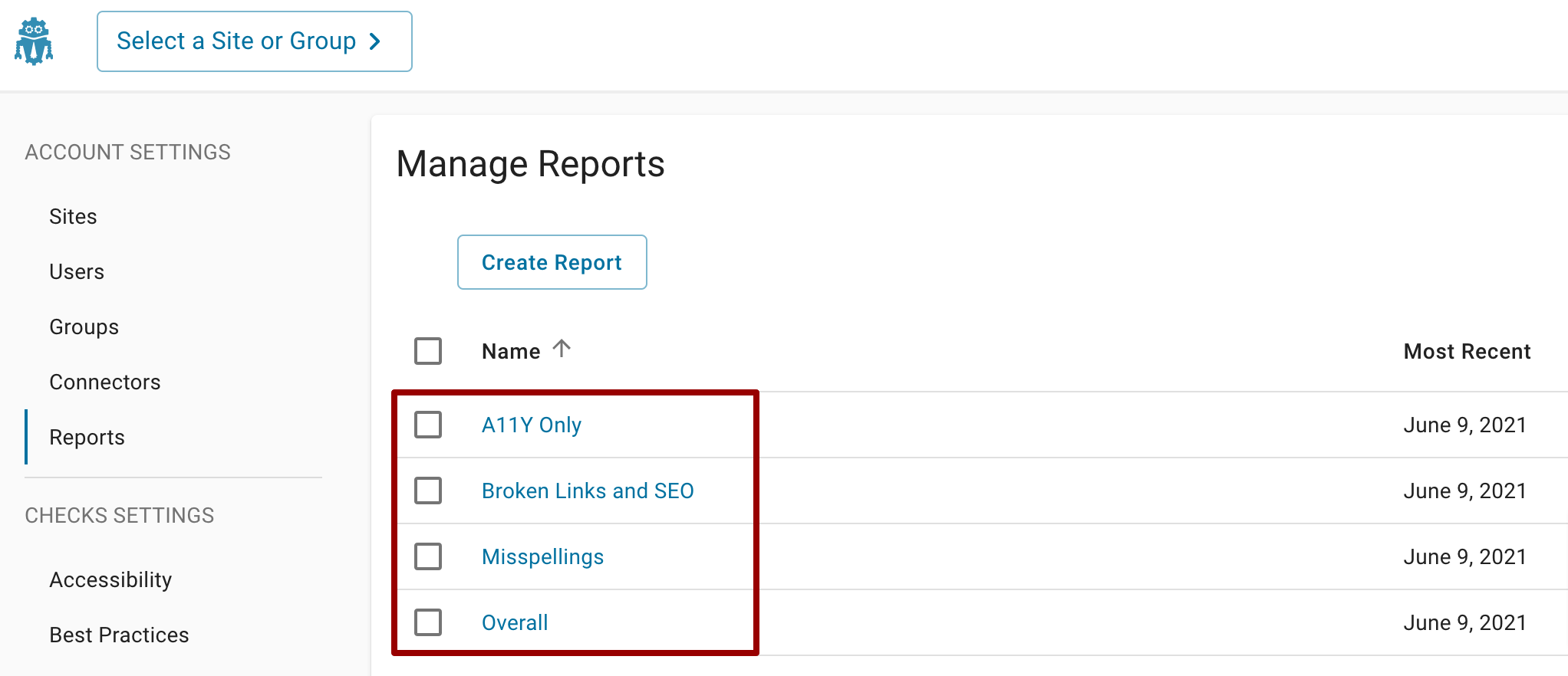 On the Manage Reports page, a red box is around all the report titles which are all hyperlinks.