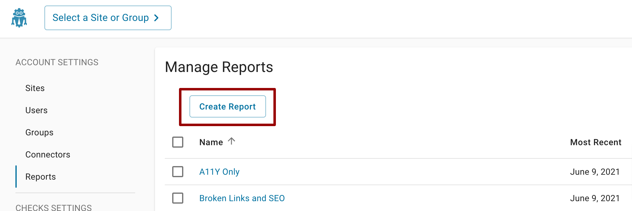 On the Manage Reports page, a red box is around Create Report button.