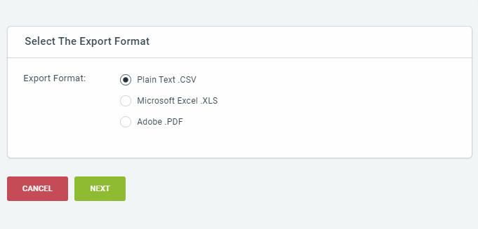 Select an export format