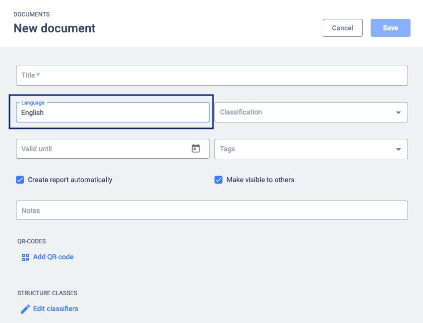 new document select language
