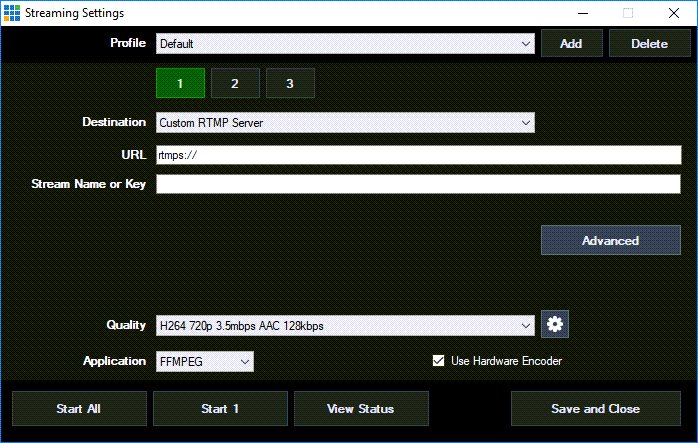 Screenshot of the Streaming Settings window in VMix.