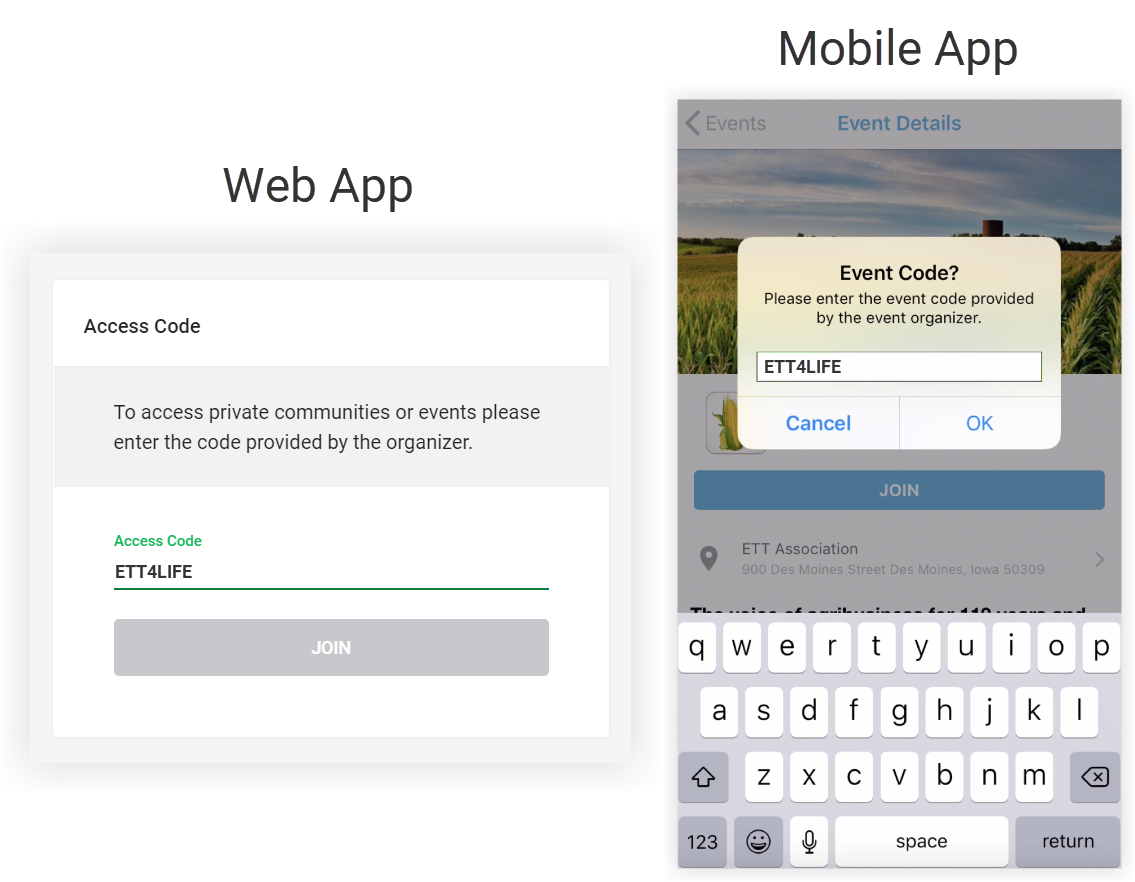 Screenshots of the Event Code entry message on the Web App and Mobile App.