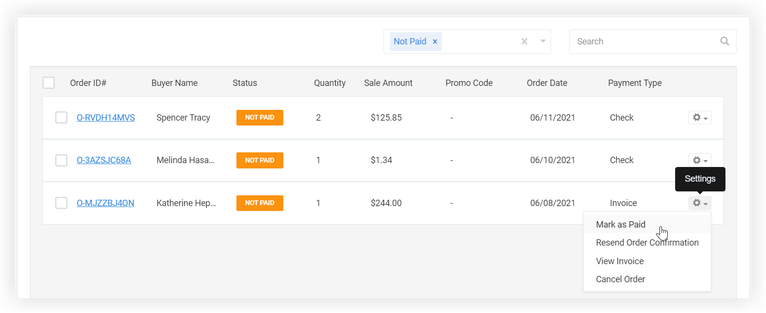 Screenshot of the Orders page. The Settings cog is expanded to reveal the Mark as Paid option.