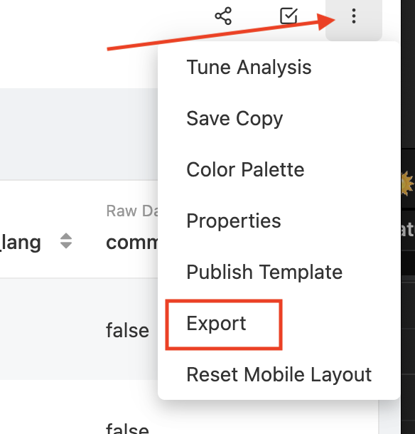 Dropdown menu allowing stratifyd user the option to export workspace
