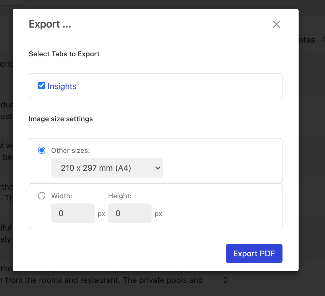 Modal in Stratifyd where users selects tab to export to PDF
