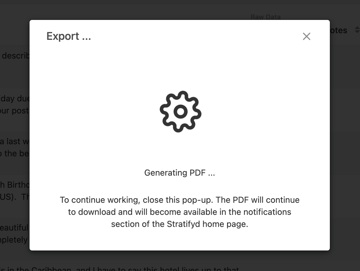 Modal with spinning gear icon shown when Strtifyd is downloading PDF