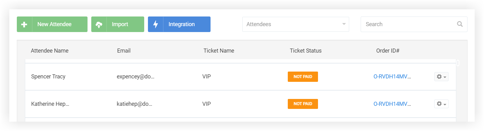 Screenshot of two people on the Attendees page. Their Ticket Status is