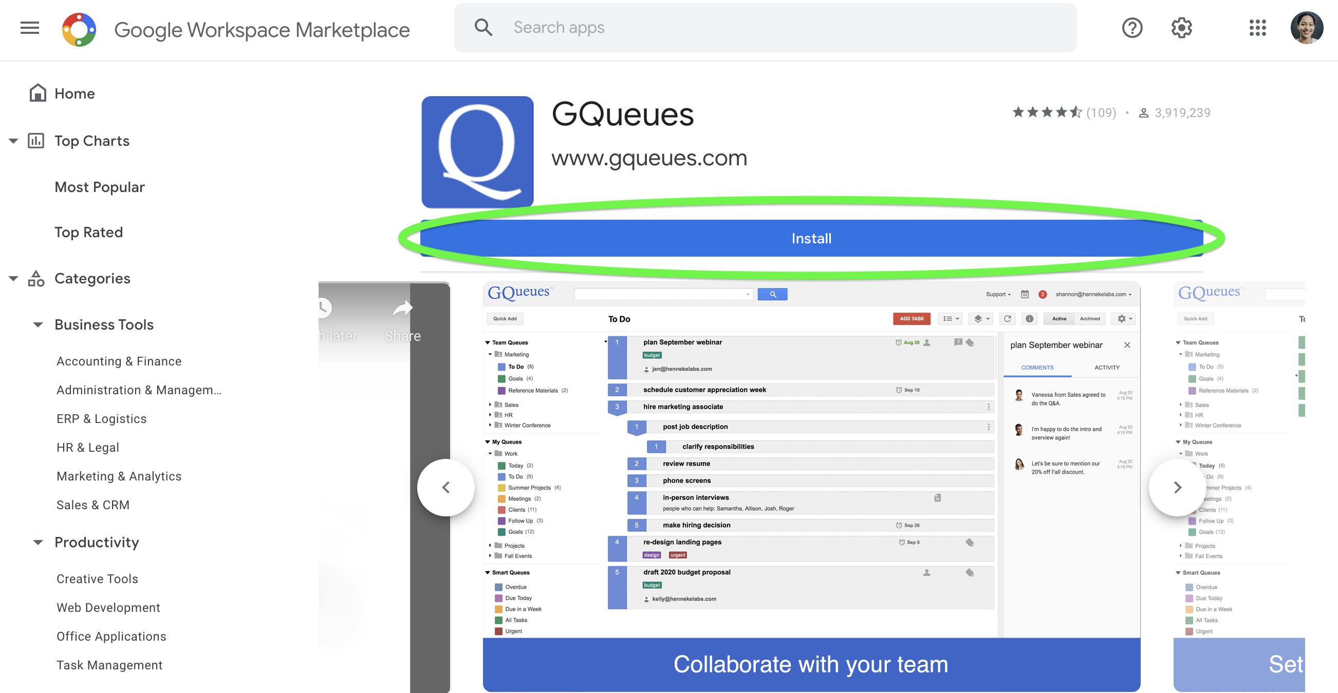 Install GQueues on your Google Account from the Google Workspace Marketplace