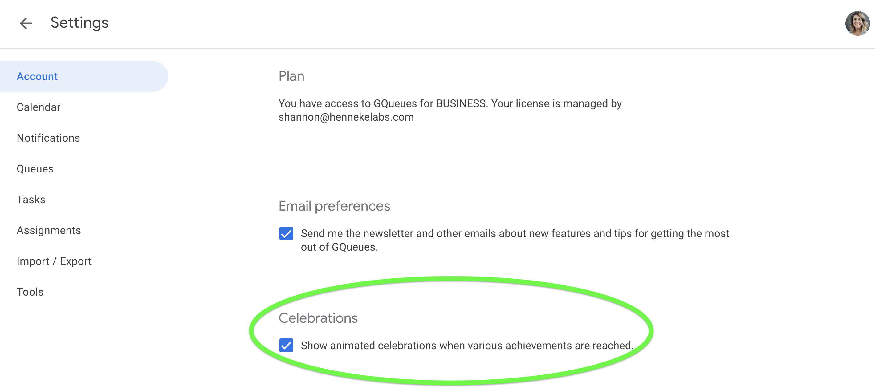 You can turn off animated celebrations from the Account tab in GQueues settings