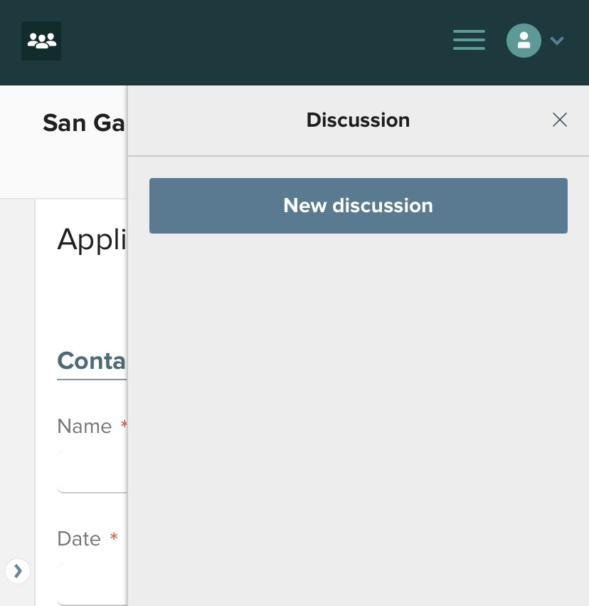 Mobile new discussion button
