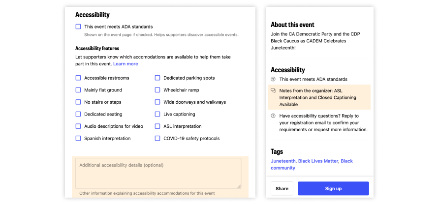 Screenshot of the Mobilize event creation form highlighting where to put additional accessibility details, alongside where that information appears on the event details page