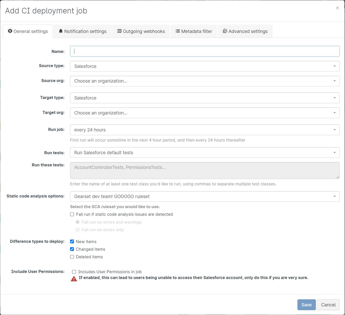 CI deployment job pop-up window that allows users to configure their CI deployment job.