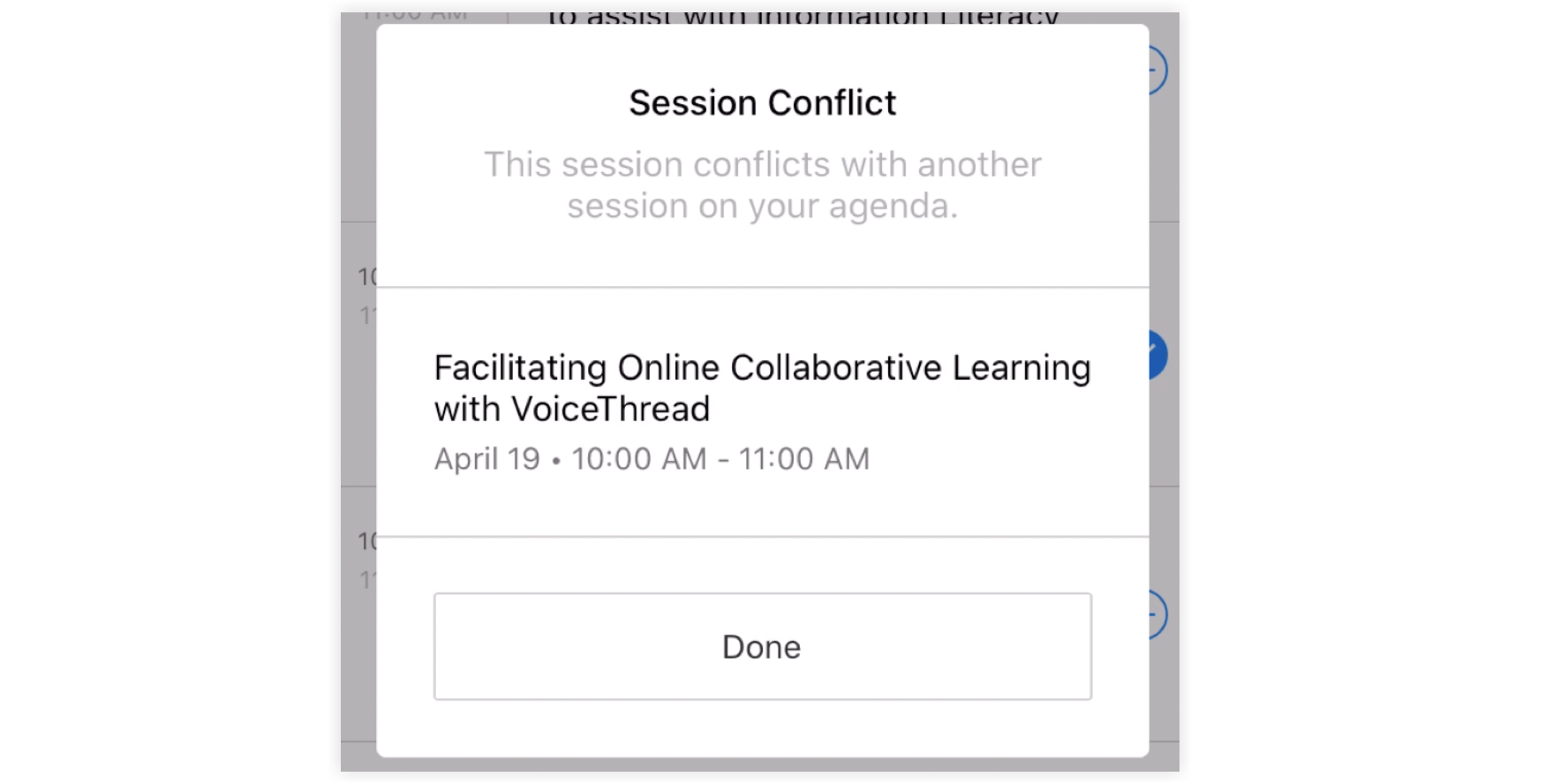 Screenshot of the Session Conflict warning,