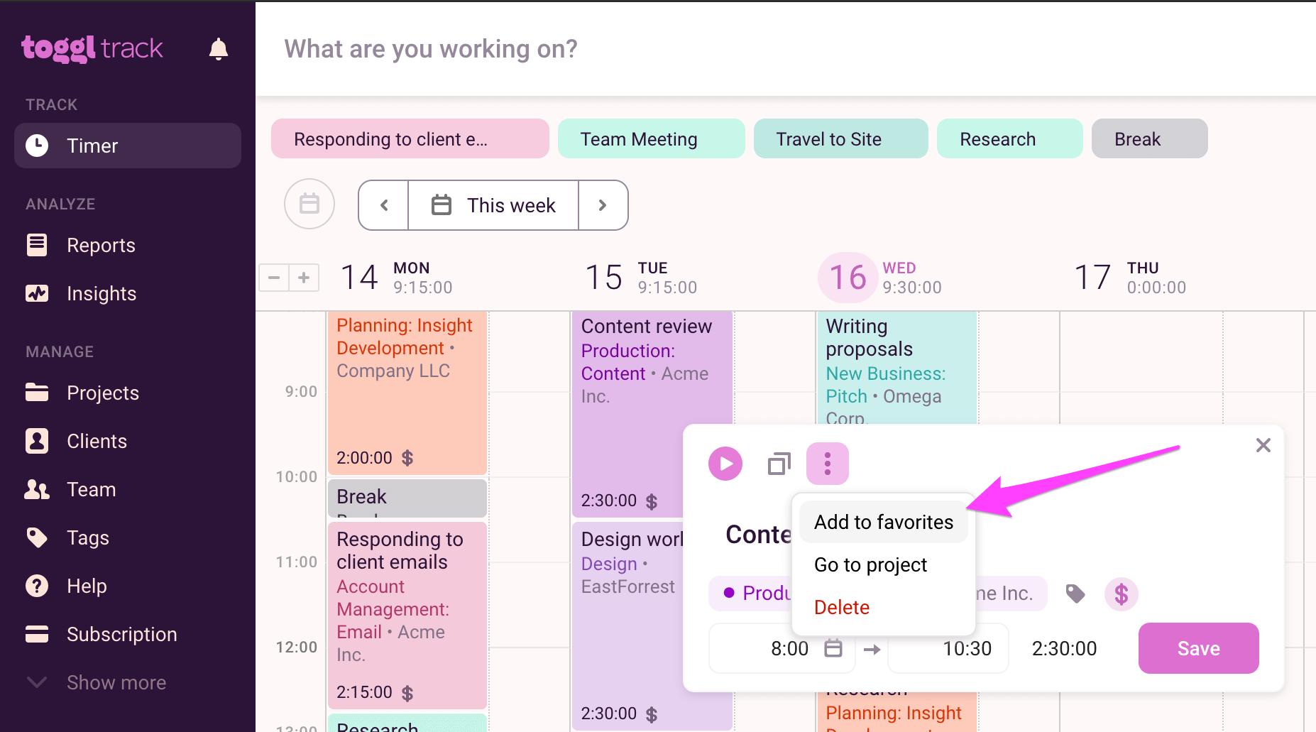 Creating Favorites from Calendar