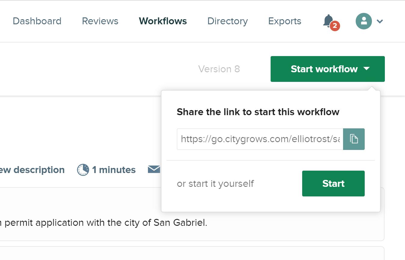 Start Workflow button citygrows