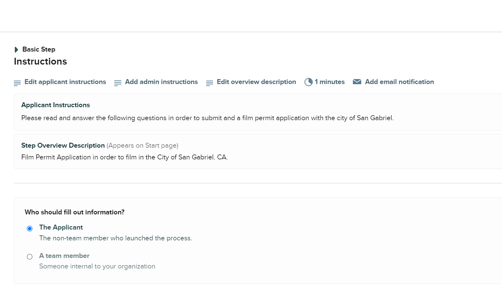 Workflow step settings on CityGrows platform