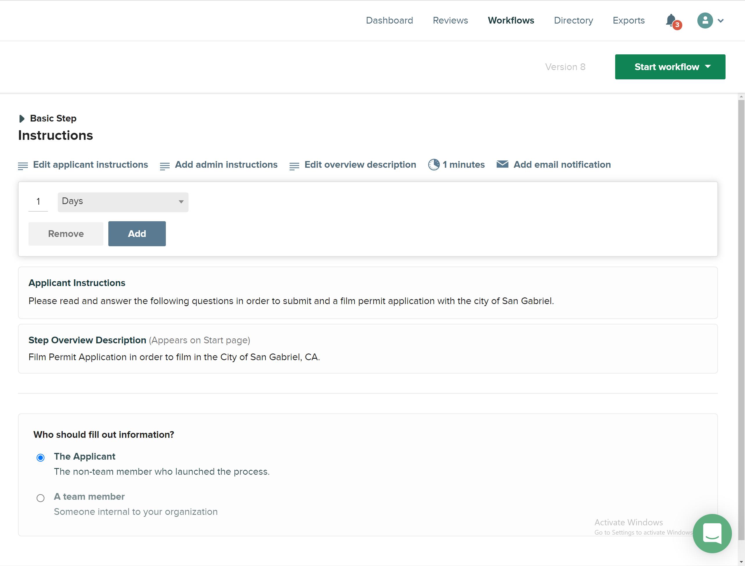 CityGrows timeframe page on workflow