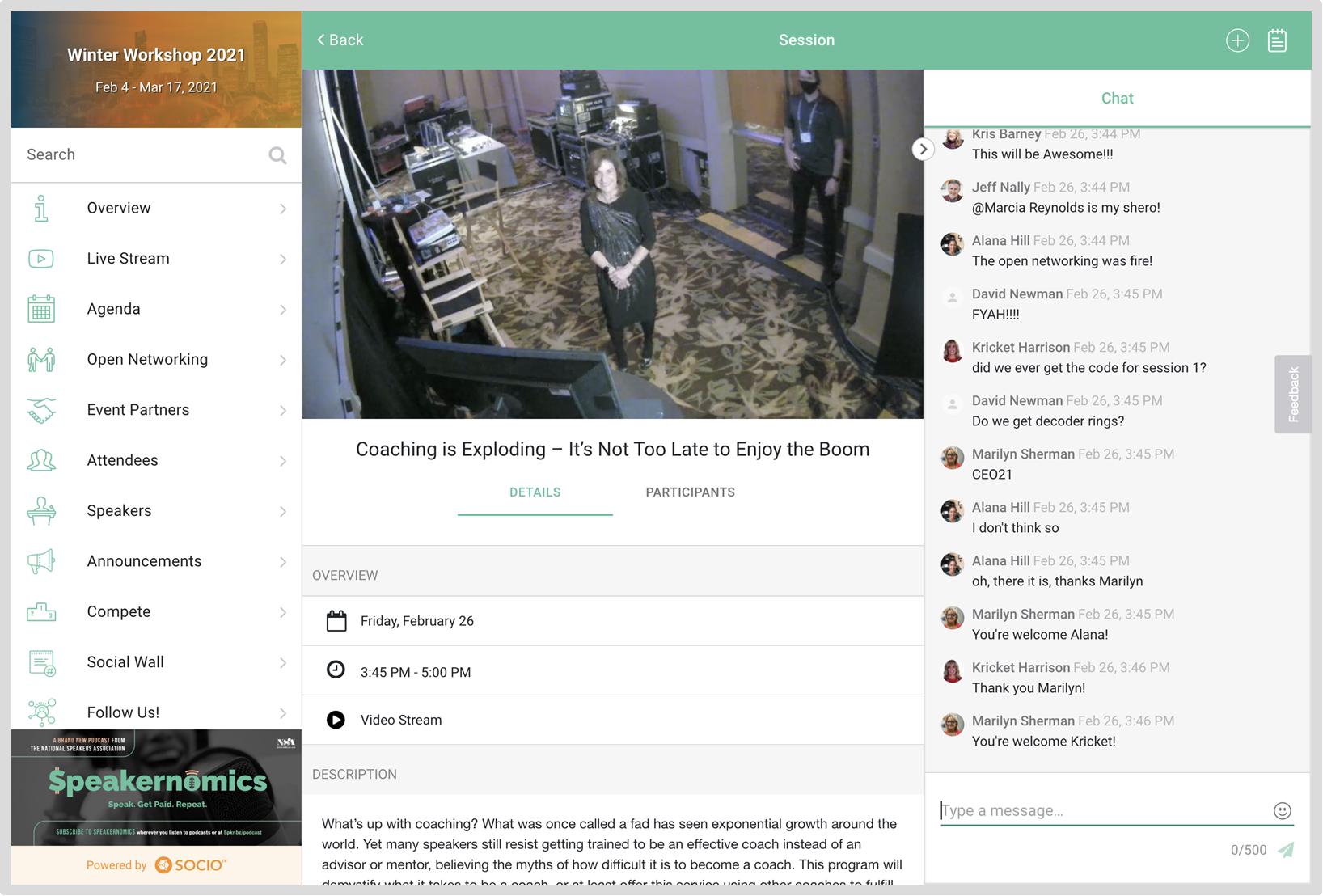 Screenshot of an RTMP live stream in an event.