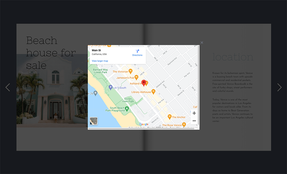 Google Map in a Popup frame
