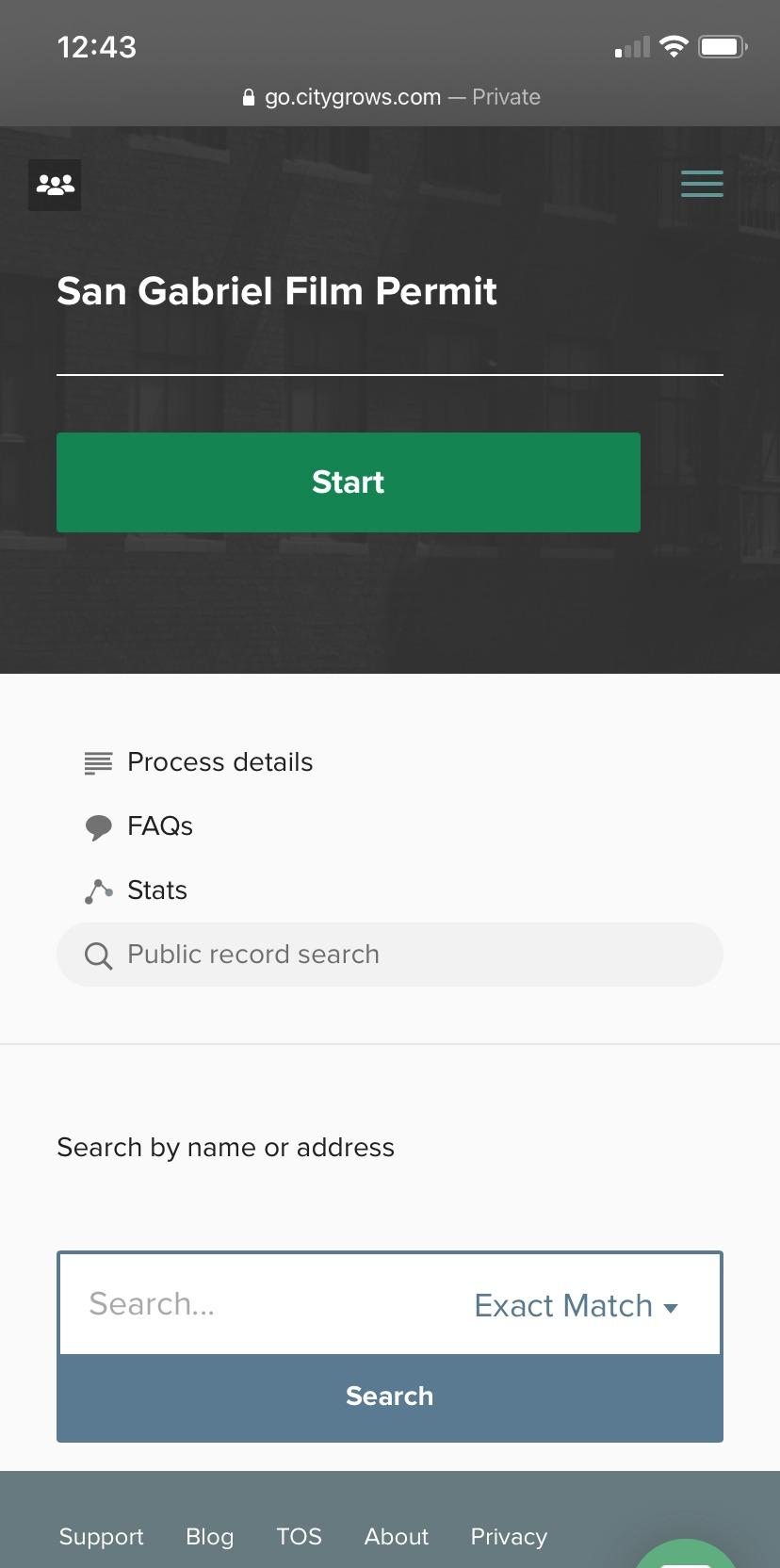 CityGrows data search mobile using exact match