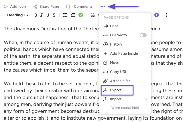 Screenshot showing the page settings ellipsis menu and highlighting the option to Export
