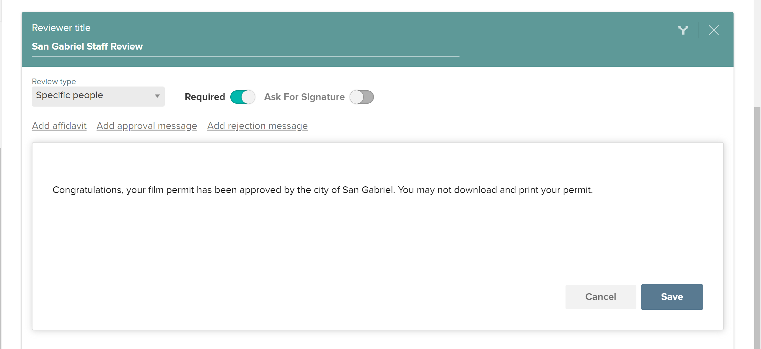 CityGrows approval message on review step