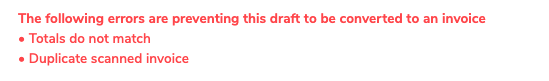 The message that appears saying the draft invoice is potentially a duplicate.