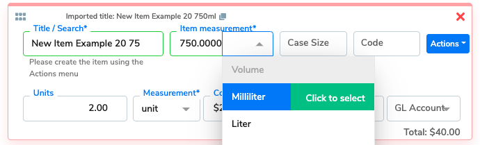 The Item measurement (size of the item) is added.