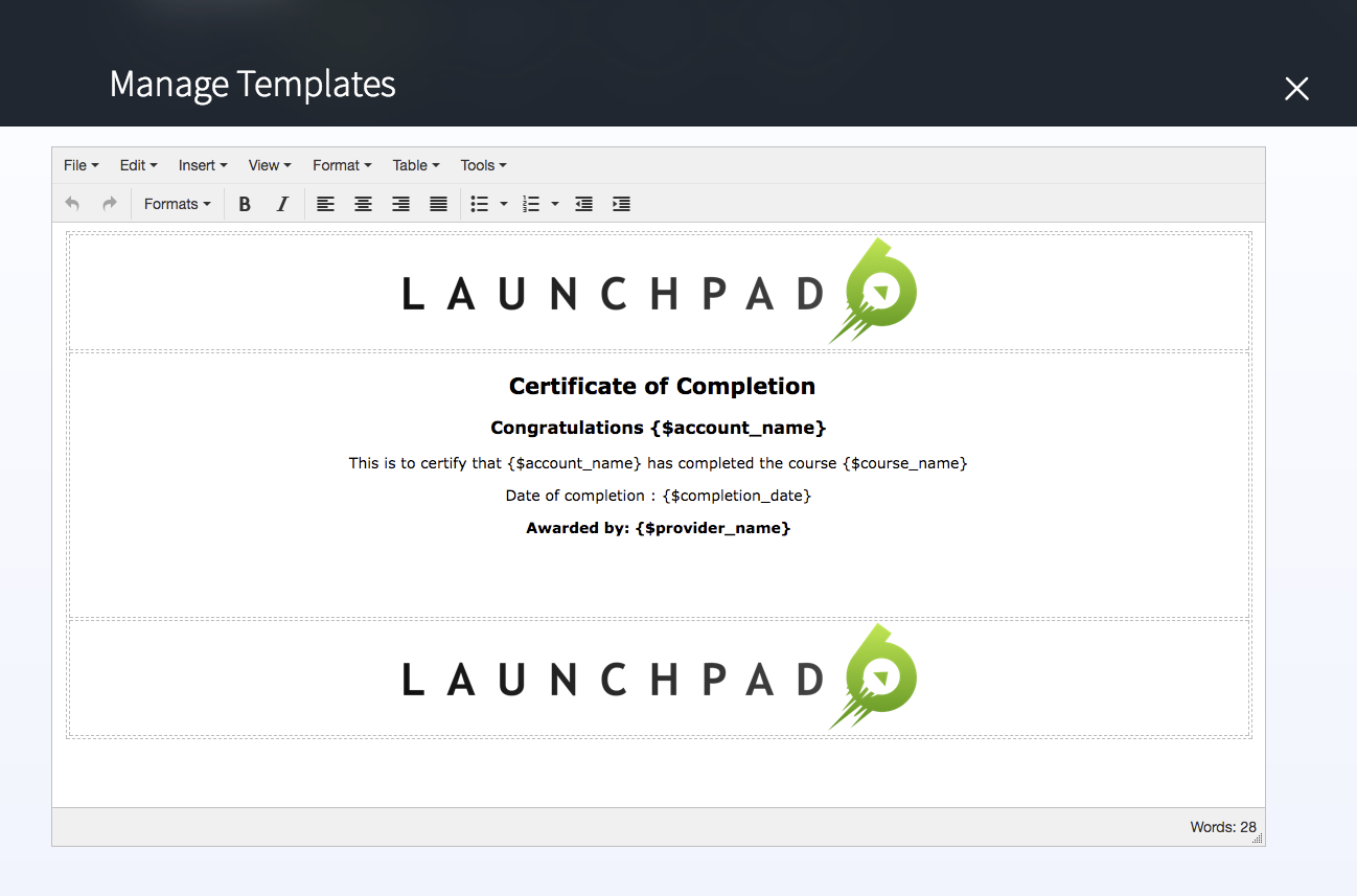 Certificate template customisation launchpad6 help center select the certificate template yelopaper Choice Image