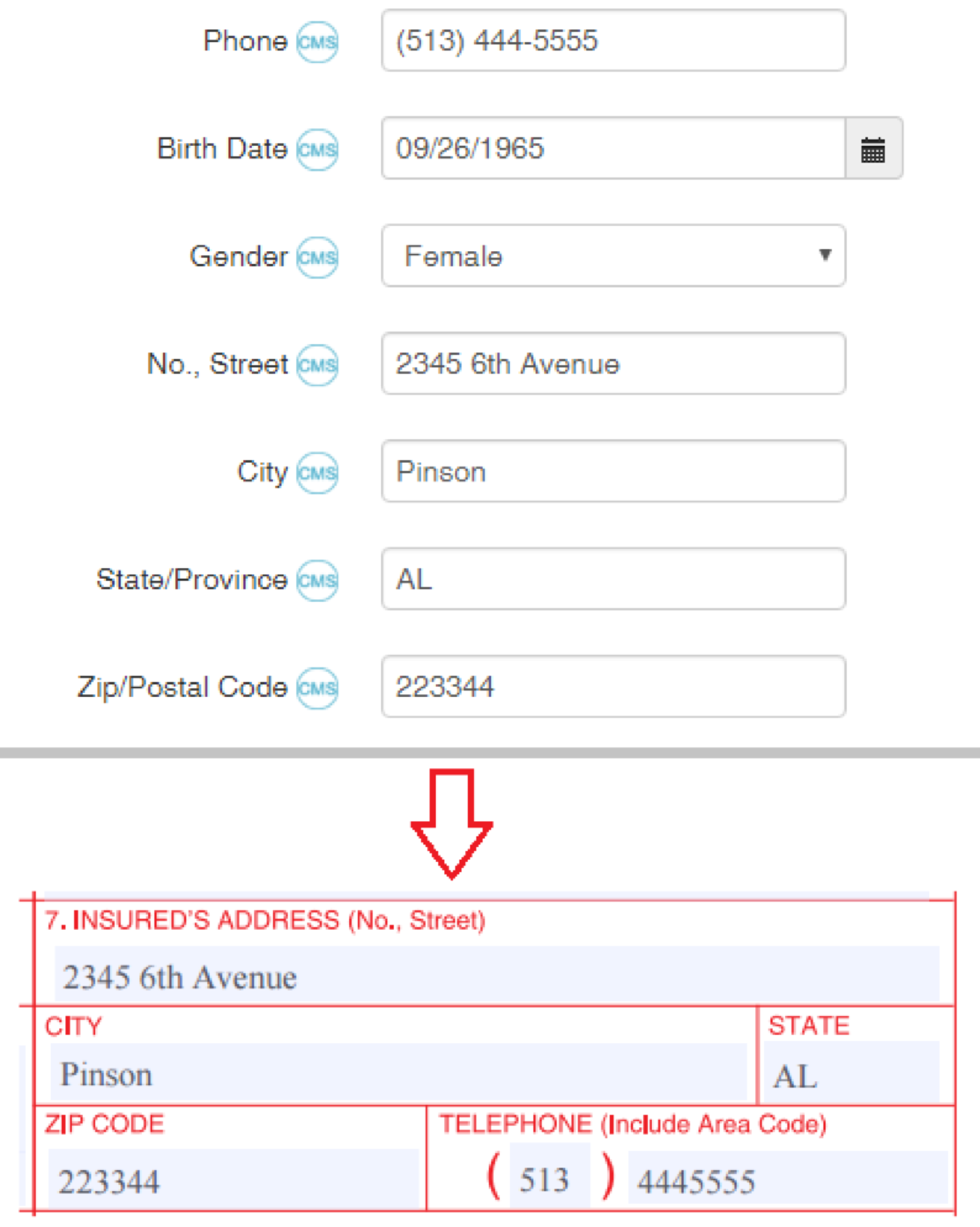 Cms1500 claim form guide theranest support center if relationship to insured is self then the data is taken from the client details page otherwise the data is taken from the info about insured block thecheapjerseys Images