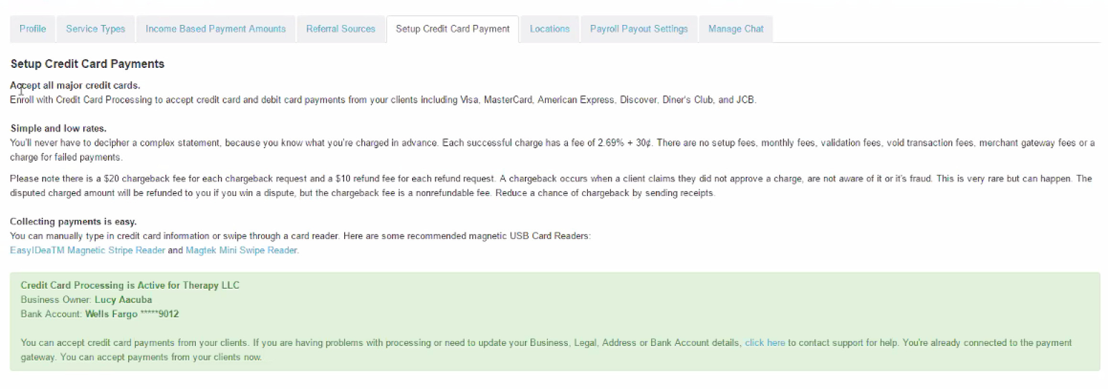 Setting Up Credit Card Processing | TheraNest Support Center