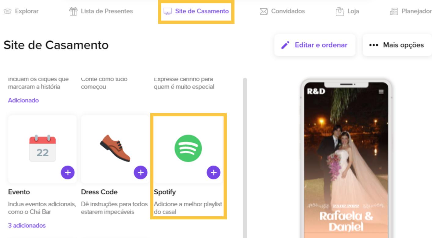 A imagem mostra como encontrar playlists do Spotify dentro do Site de Casamento da Wedy.