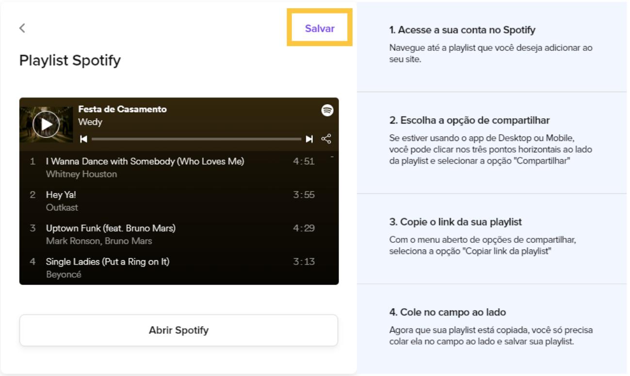 A imagem explica como salvar a playlist do Spotify dentro do Site de Casamento da Wedy.