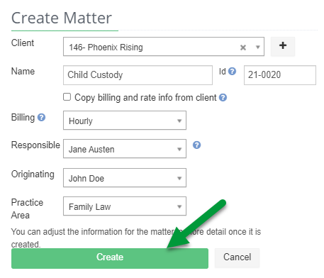 A screenshot of the Create Matter form with Create indicated,