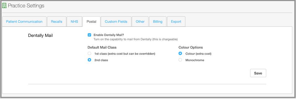 postal practice settings dentally