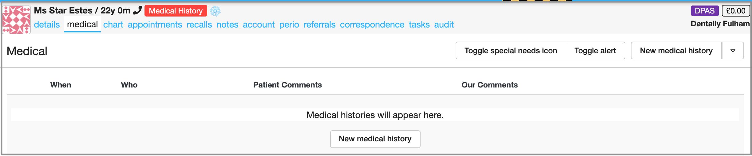 dental medical history dentally