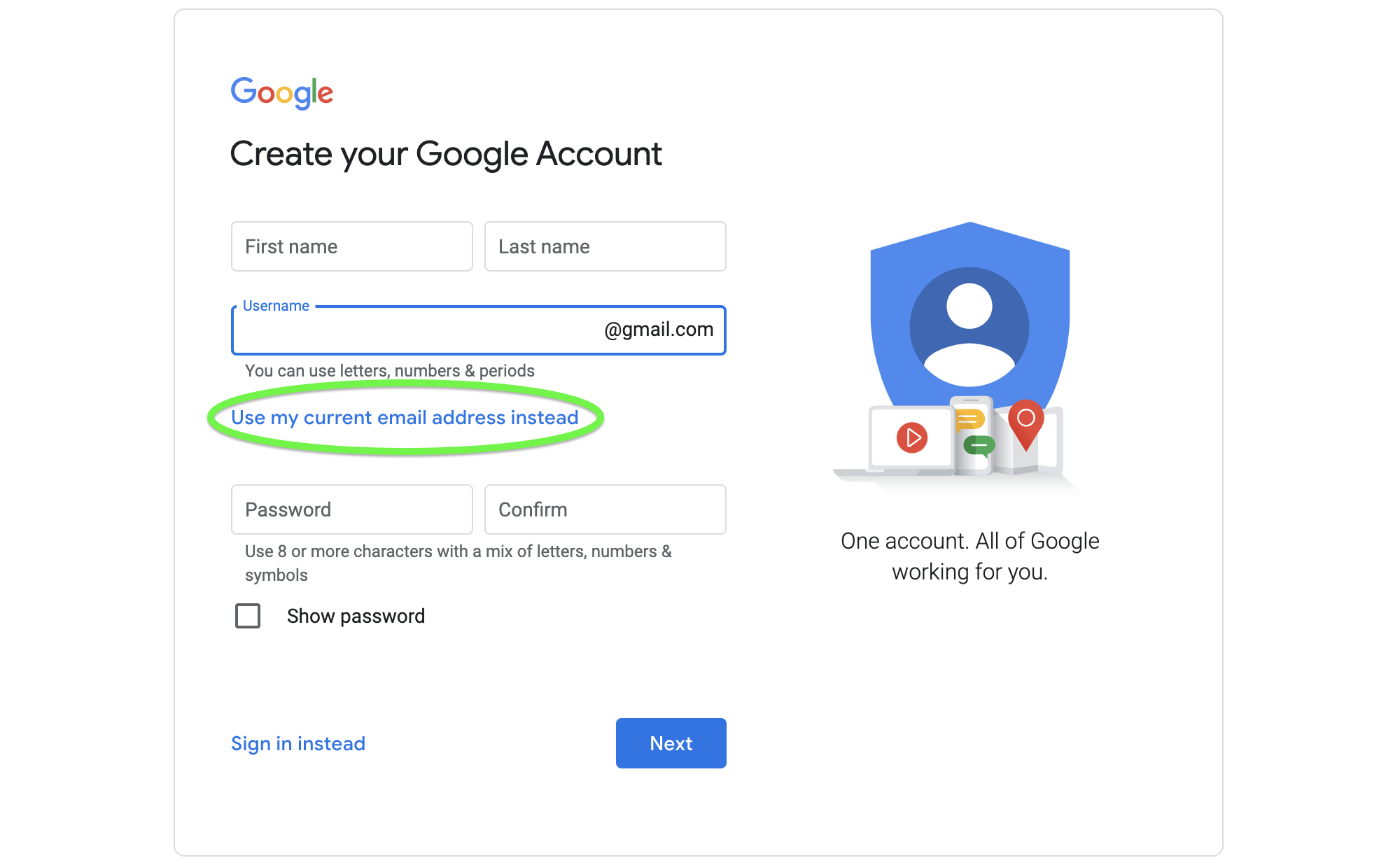 Create a GQueues account without a Gmail account.