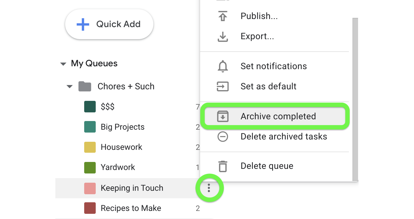 Archive your completed tasks.