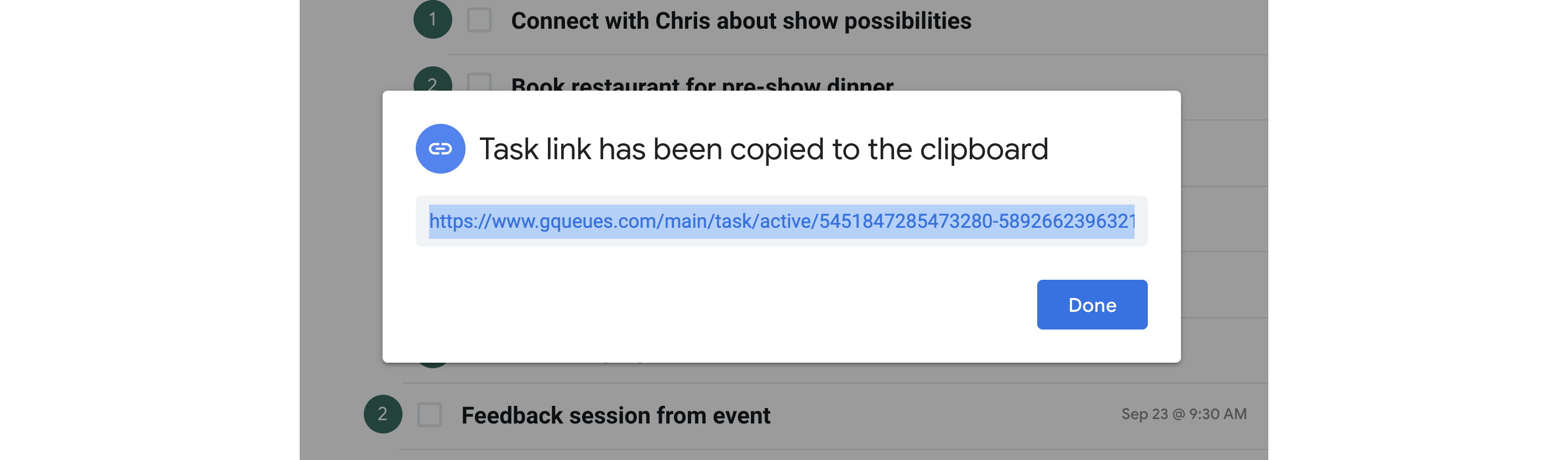 Task link can be copied to your clipboard.