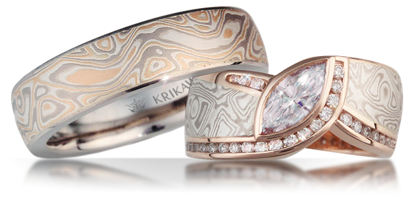 custom rings stonebrook ring and gane damascus jewelry made engagement mokume collections bands rose wedding gold