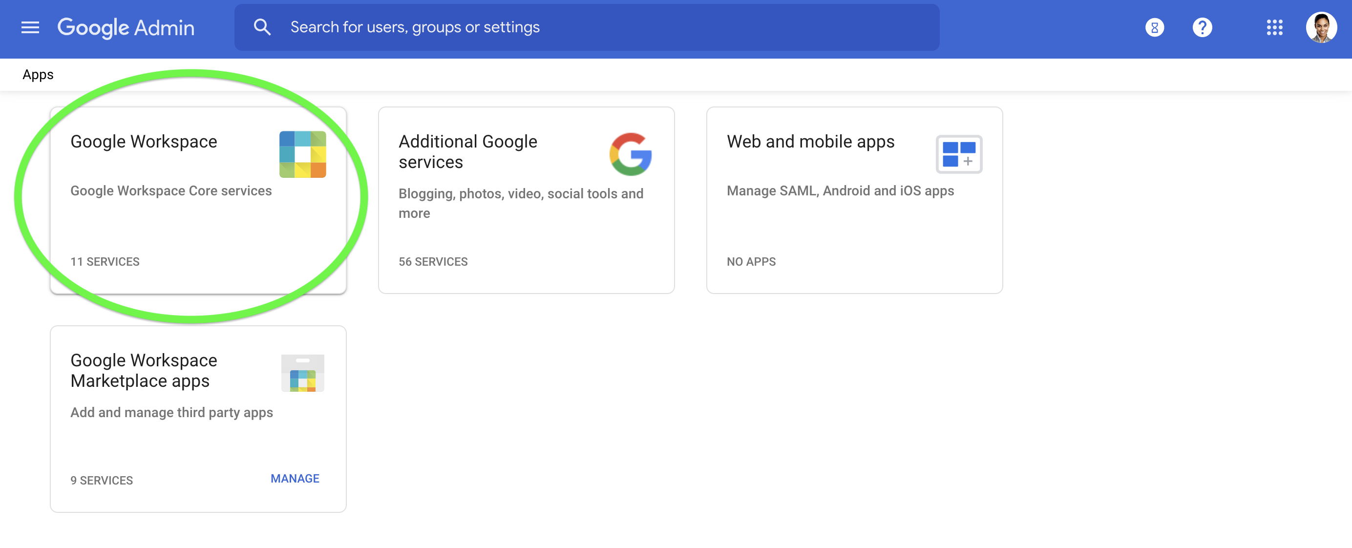 Select Google Workspace to manage your apps