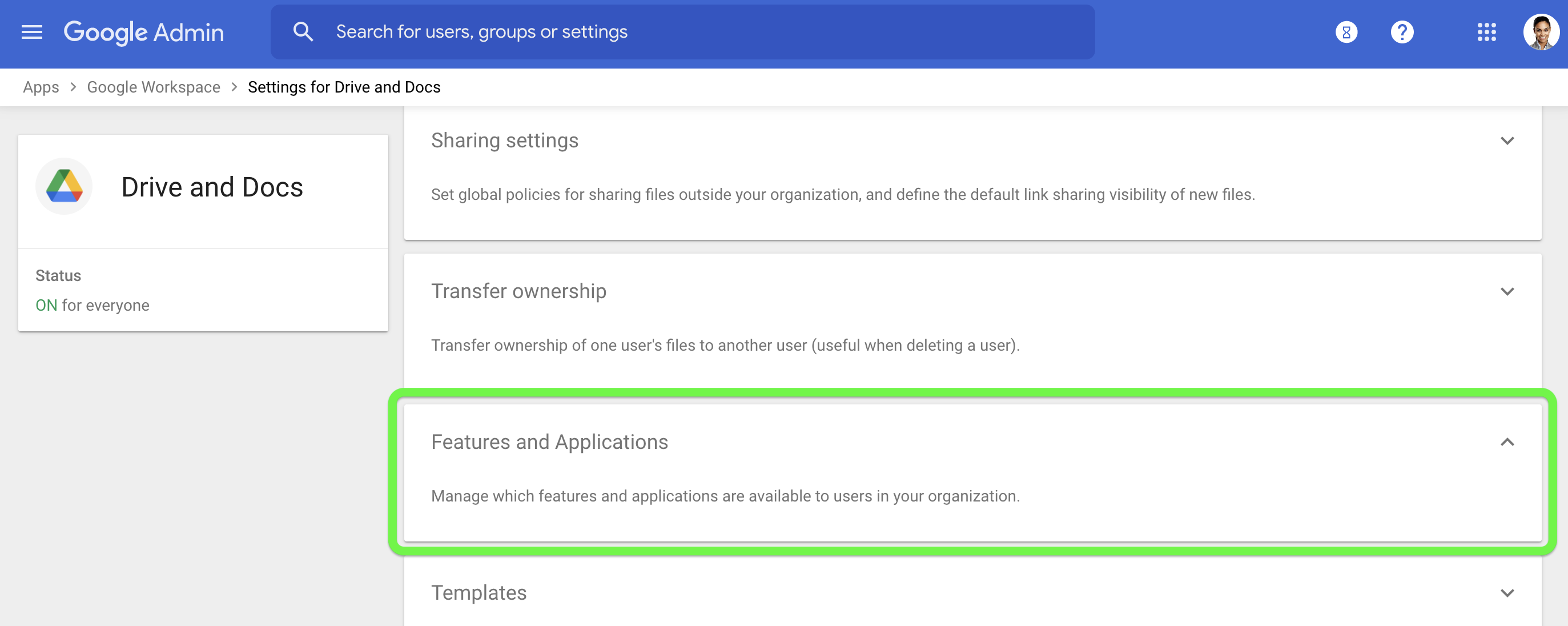Select Features and Applications to open the access settings